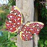 Gardens2you Papillon décoratif mosaïque à fixer sur mur ou grillage pour jardin ou maison Rouge