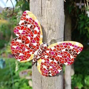 Gardens2you - Mariposa decorativa para jardín, diseño en mosaico, color rojo