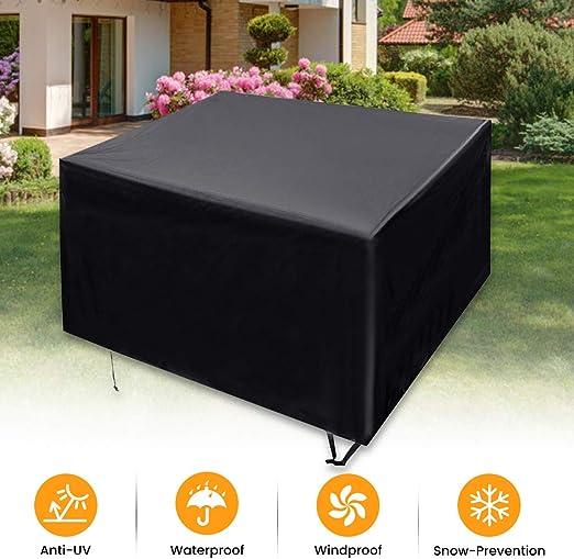 PATHONOR - Funda para muebles de jardín (tela Oxford 600D, resistente al viento, impermeable, antiAV, para mesa de patio al aire libre: Amazon.es: Jardín