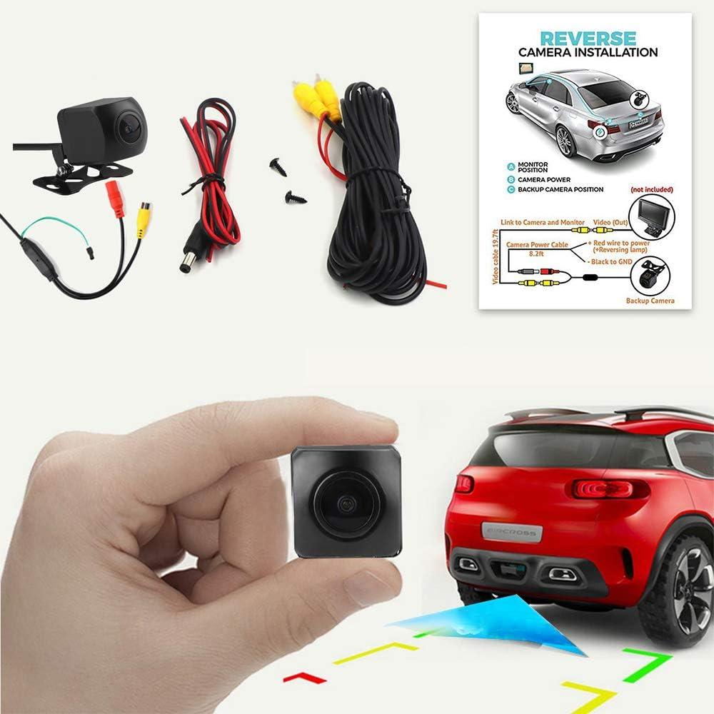 Ruyoet Car Reverse Backup Rear View Camera Mini Parking Camera with HD 170 Degree Fisheye Lens Starlight Night Vision