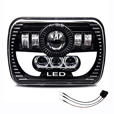Globled 7x6 LED Headlight DOT Approved Crystal Clear 5x7 High/Low Sealed Beam Headlamp Projector H4 Plug with DRL Red Angel Eye Replacement Rectangle Truck Pickup Lights: Automotive