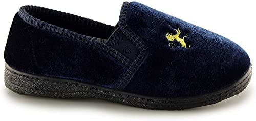 Sleepers KYLE Boys Embroidered Lion Motif Velour Slip On Full Slippers Navy