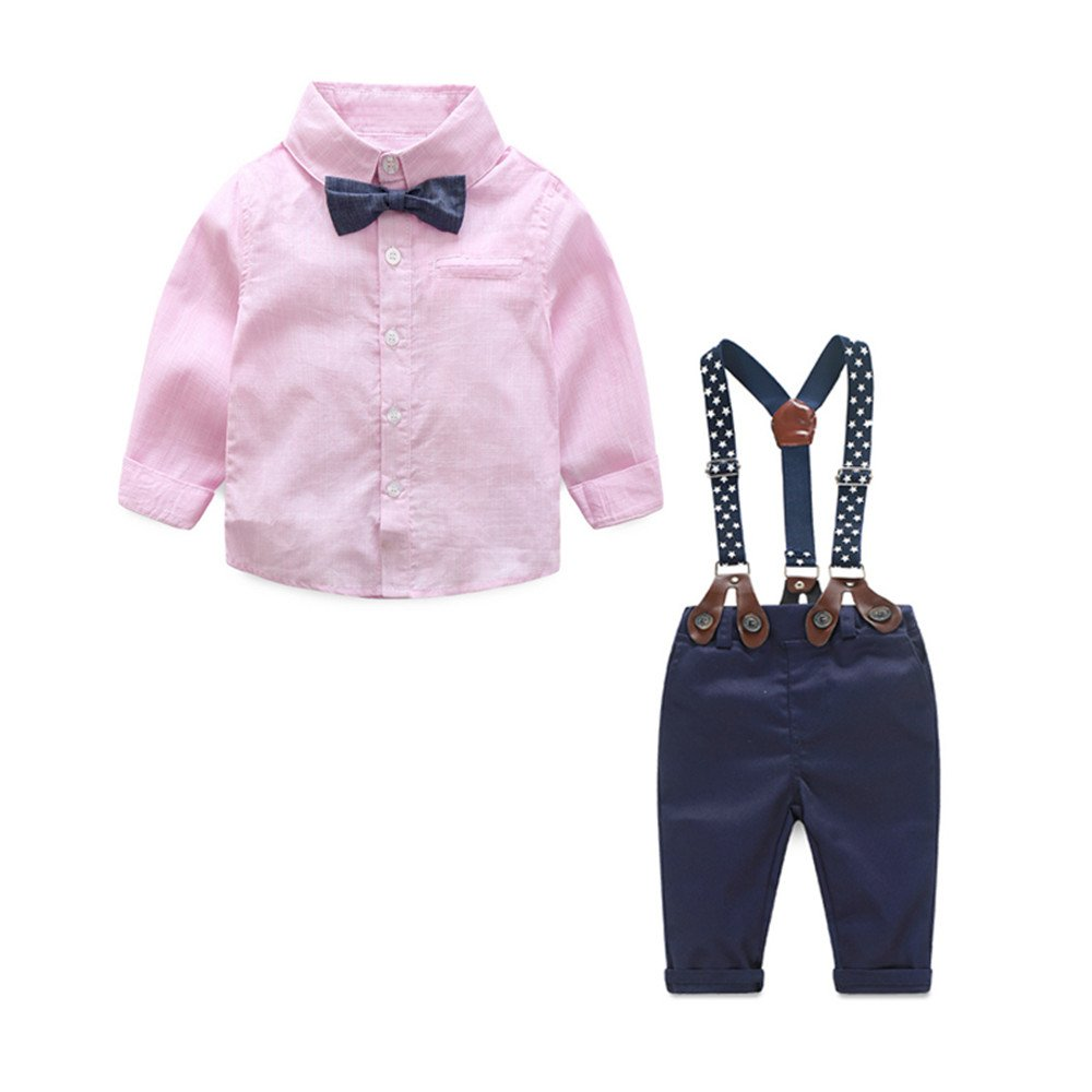 Tem Doger Toddler Baby Boys Gentle Long Sleeve Striped Shirt+Bowtie+Suspender Pants Set Outfit (Pink, 90/12-18 Months)