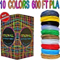 3D Printing Pen Filament Refills PLA 1.75mm Mega Kit/Set of 10 Vibrant Colors 60 Feet Each Total 600 Feet with Individual Packs for 3D Drawing Pens and Printers-Gift for Kids Teens Adults