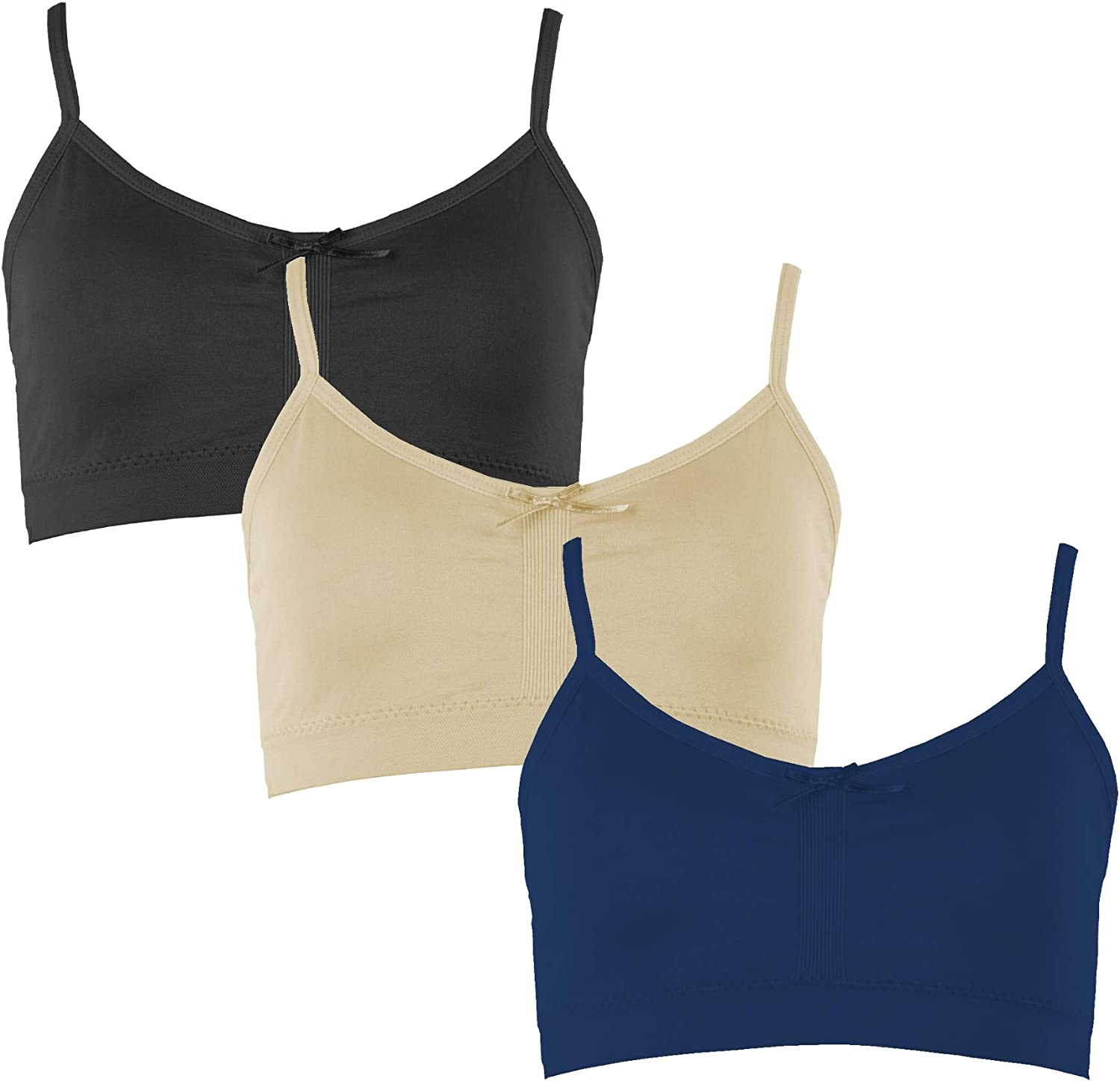 Value Packs Popular Girls Adjustable Seamless Cami Bra with Removable Padding