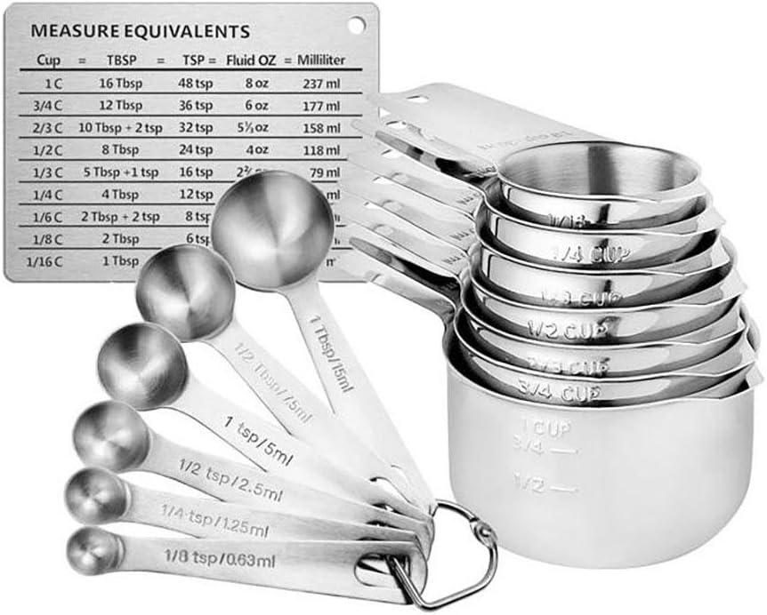 cucharas medidoras de acero inoxidable para t/é para secar ingredientes l/íquidos 4 cucharas medidoras de acero inoxidable cocinar caf/é y metal hornear