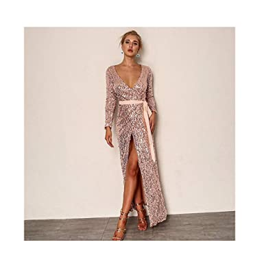 a2ee28c05703 Image Unavailable. Image not available for. Color: mmmttt Knot Deep V Neck  Twist Front High Slit Long Sleeve Sequin Maxi Dress Pink XL