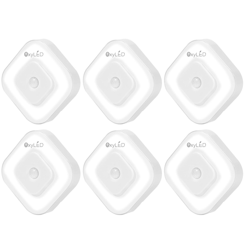 OxyLED n08スティックオンポータブルLEDワイヤレスライトモーションセンサーナイトライト、クローゼット、キャビネットLEDナイトライト/階段ライト/ステップライト電池式 N08 B014P7G4PS 3パック
