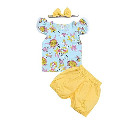 a0bb501852b1 Image Unavailable. Image not available for. Color  3 PC Kids Baby Girls  Summer Floral Tops+Shorts+Headband Set Clothes