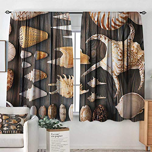 Mozenou Seashells Window Curtain Drape Seashell Background Still Life Spiral Wooden Table Rural Rustic Country Theme Decor Curtains by 55