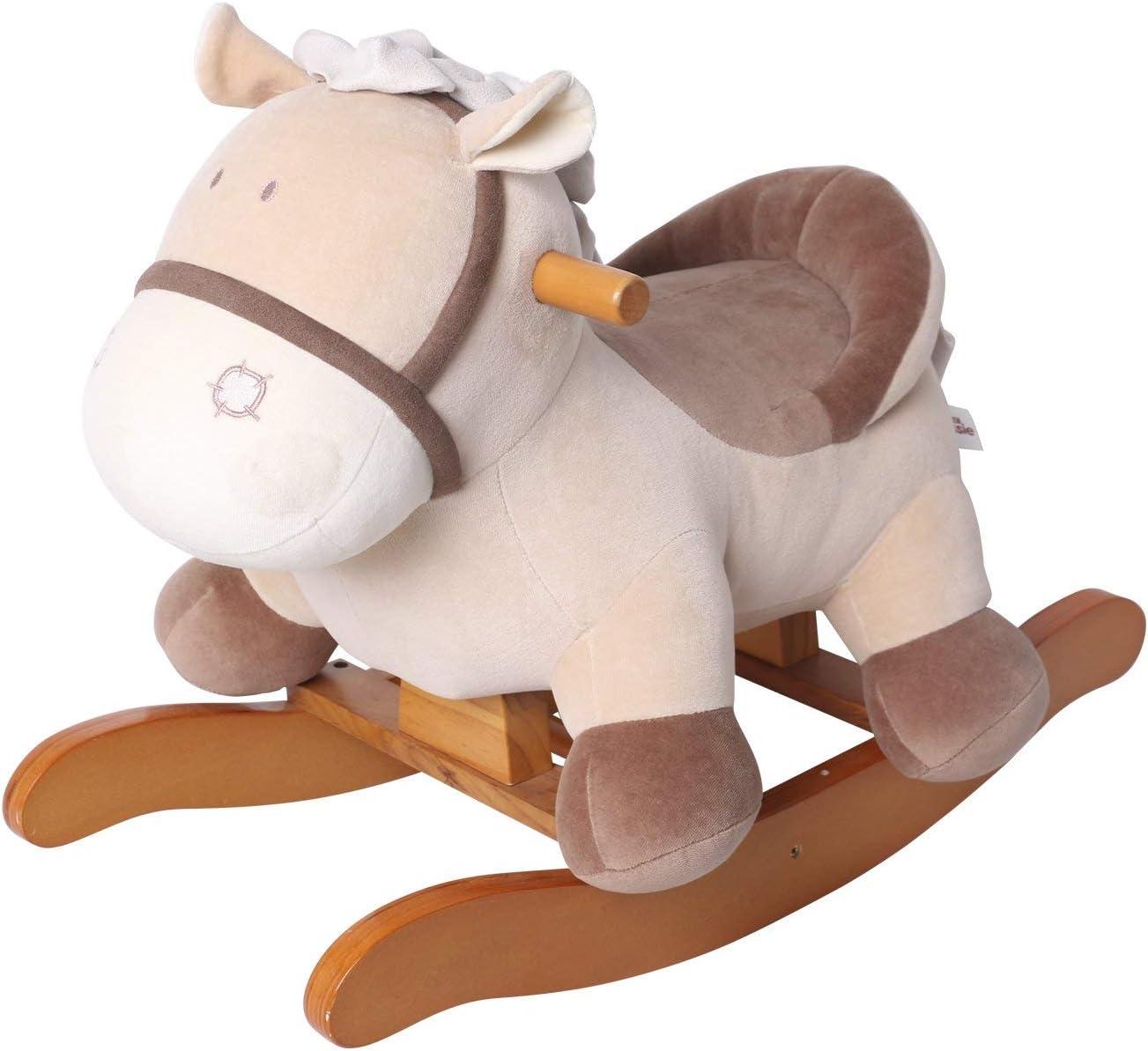Caballo Mecedora para niños - Burro de Color Caqui, de Madera con Relleno de Tela, Juegos Infantiles de mecedoras