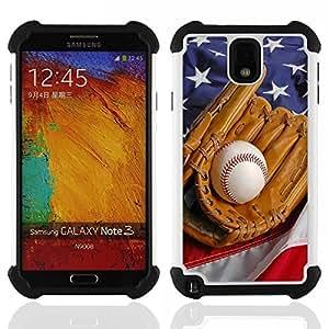 /Skull Market/ - MLB Baseball Sport USA For Samsung Galaxy Note3 N9000 N9008V N9009 - 3in1 h????brido prueba de choques de impacto resistente goma Combo pesada cubierta de la caja protec -