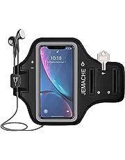 iPhone XR Brassard, JEMACHE résistant à l'eau Course/Exercice/entraînement Gym Brassard de Sport pour iPhone XR (6,1 Pouces) avec Carte/Support pour clés (Noir)