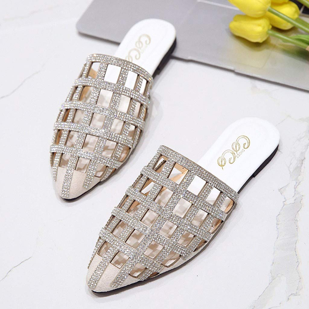 a9f88836d0f Amazon.com  kaifongfu Fashion Women Spring and Summer Pointed Toe Slides  Hollow Crystal Flat with Slippers  Clothing