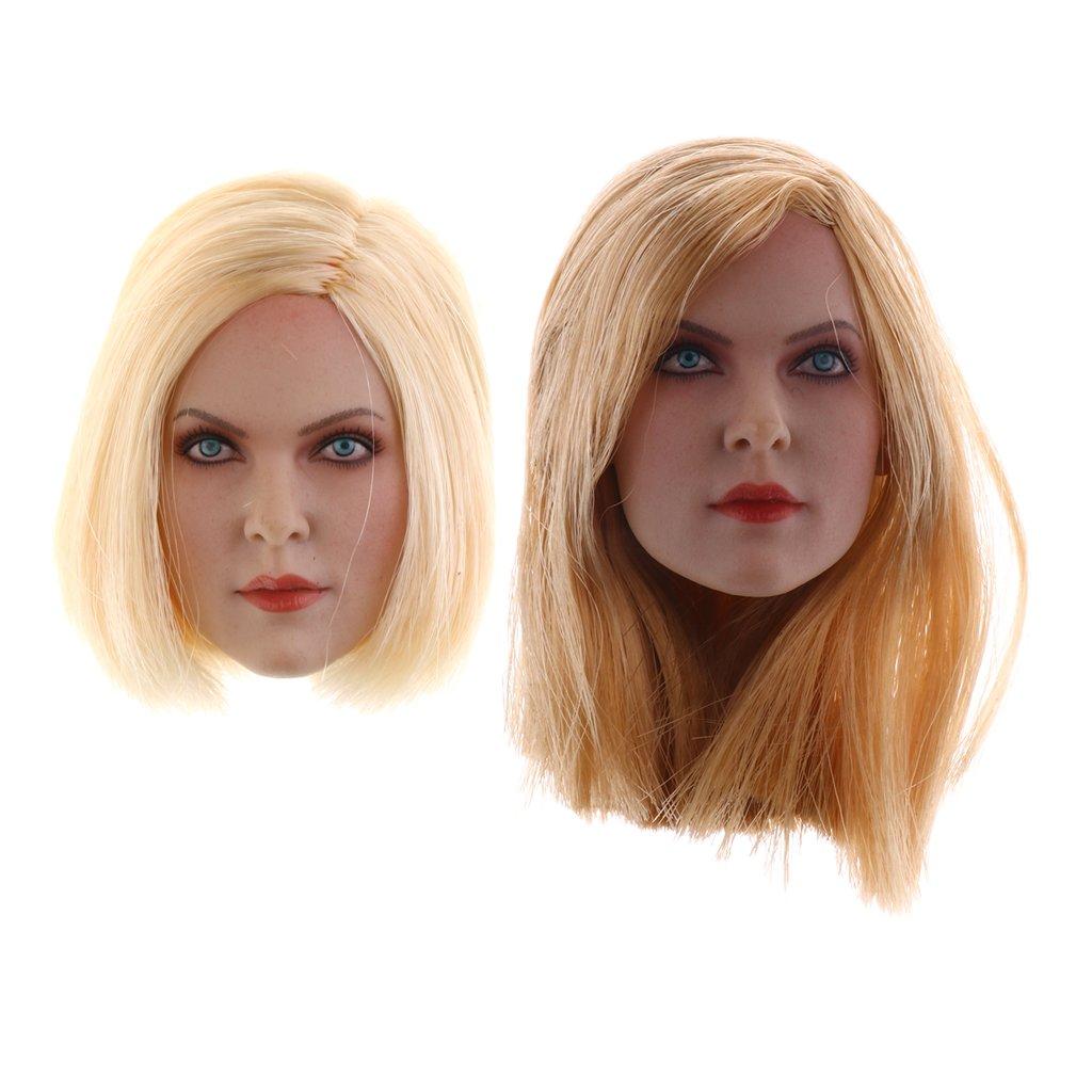 Sharplace 1:6 Escala Cabeza de Muñeca Rubio con Pelo Largo / Corto para 12 '' Figuras de Acción