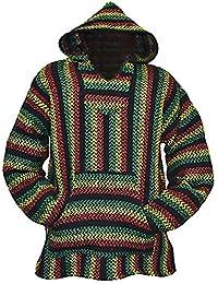 Striped Rasta Hoodie Woven Eco-Friendly Pullover (Large, Rasta)