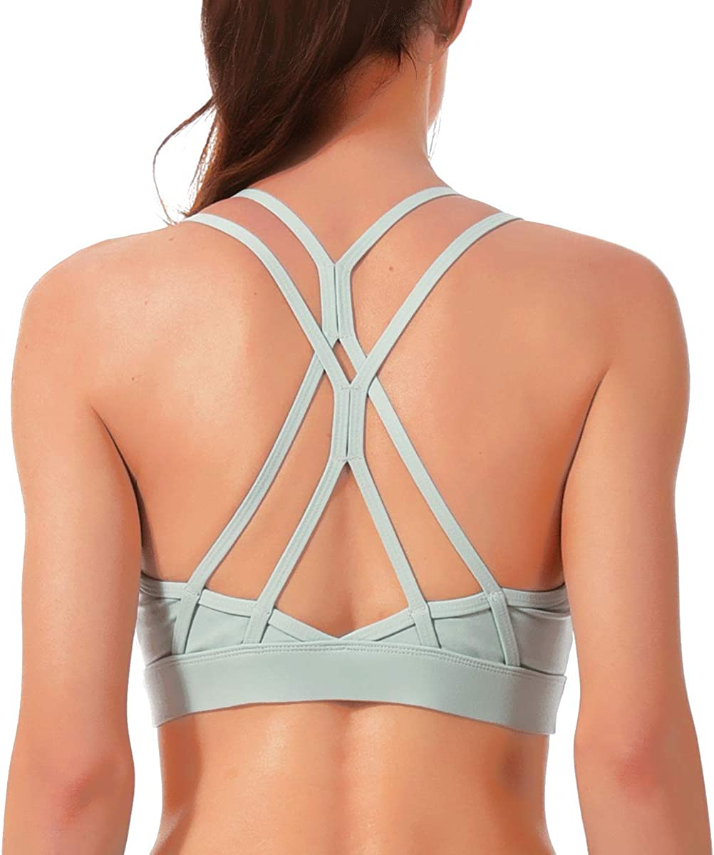 Strappy Workout Sports Bra for Women Padded Yoga Bra Top Medium Support Gym Clothes Wokrout Outfits