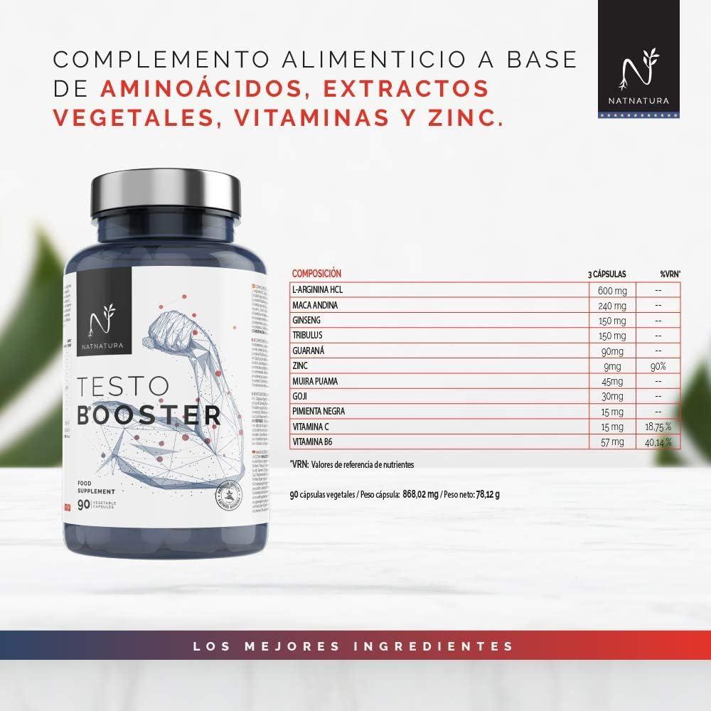 Testosterona. Aumento de resistencia y rendimiento deportivo. Potenciador de testosterona natural. 90 cápsulas vegetales. Vegano y sin gluten.
