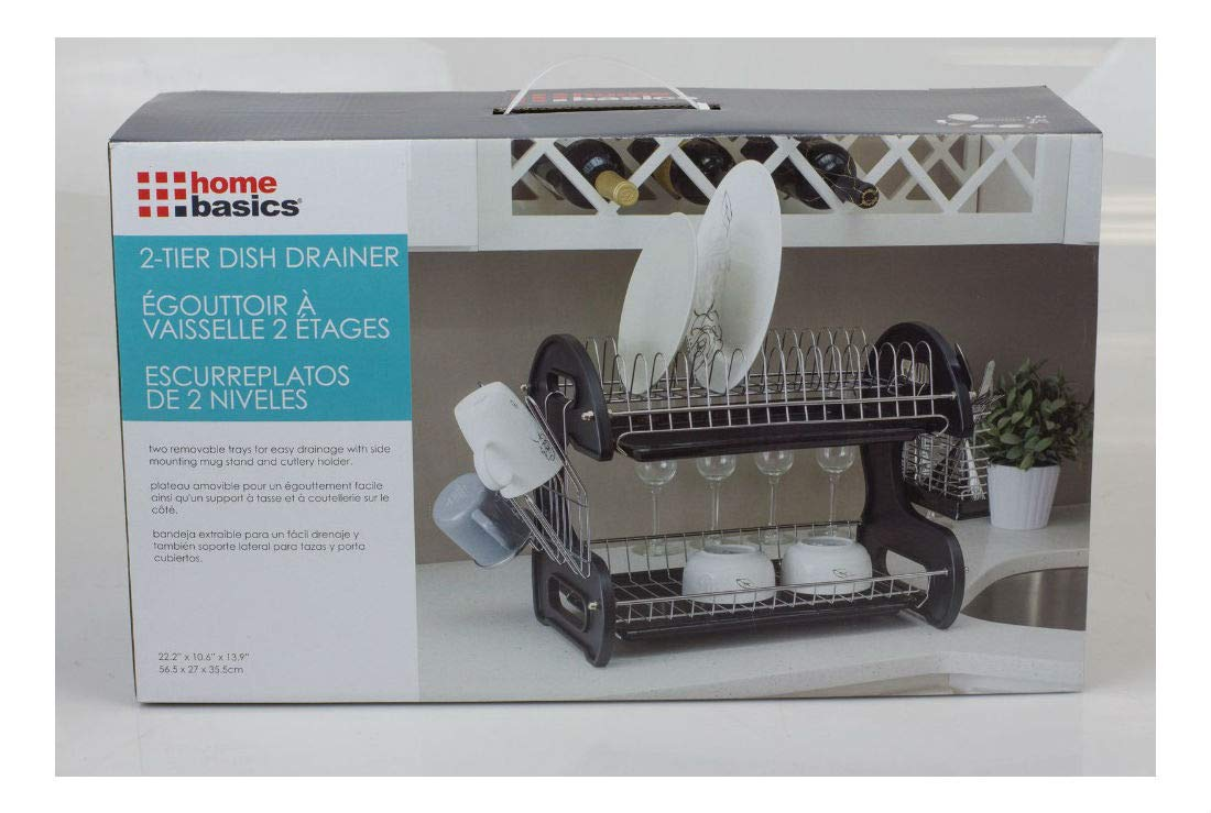 Amazon.com - New 2 Tier Black Dish Drainer Drying Rack Washing Organizer- DD10249 -
