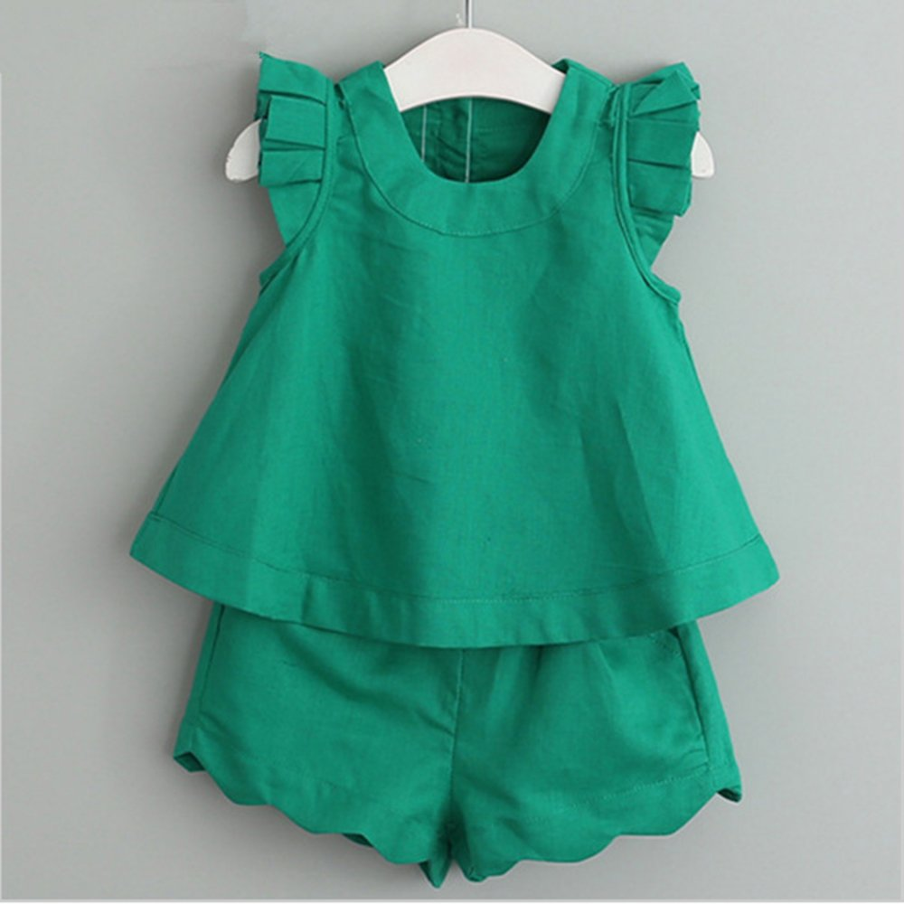 Little Girls Clothes Sets Round Neck Sleeveless T-Shirt + Shorts Suit Solid Color Cotton Clothes Outfit