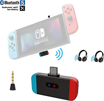 Friencity Transmisor Bluetooth para Nintendo Switch PS4 PC, Conector USB Tipo C Adaptador de Audio inalámbrico Compatible con Voz en el Juego, APTX Baja latencia Enlace Dual a Auriculares para Juegos: Amazon.es: