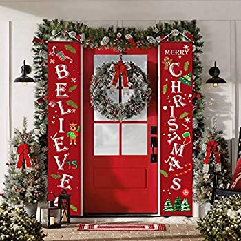 Christmas Decorations Outdoor Indoor,Believe and Merry Christmas Banner,Christmas Porch Sign for Home Wall Door Apartment Party,Durable Christmas Decor