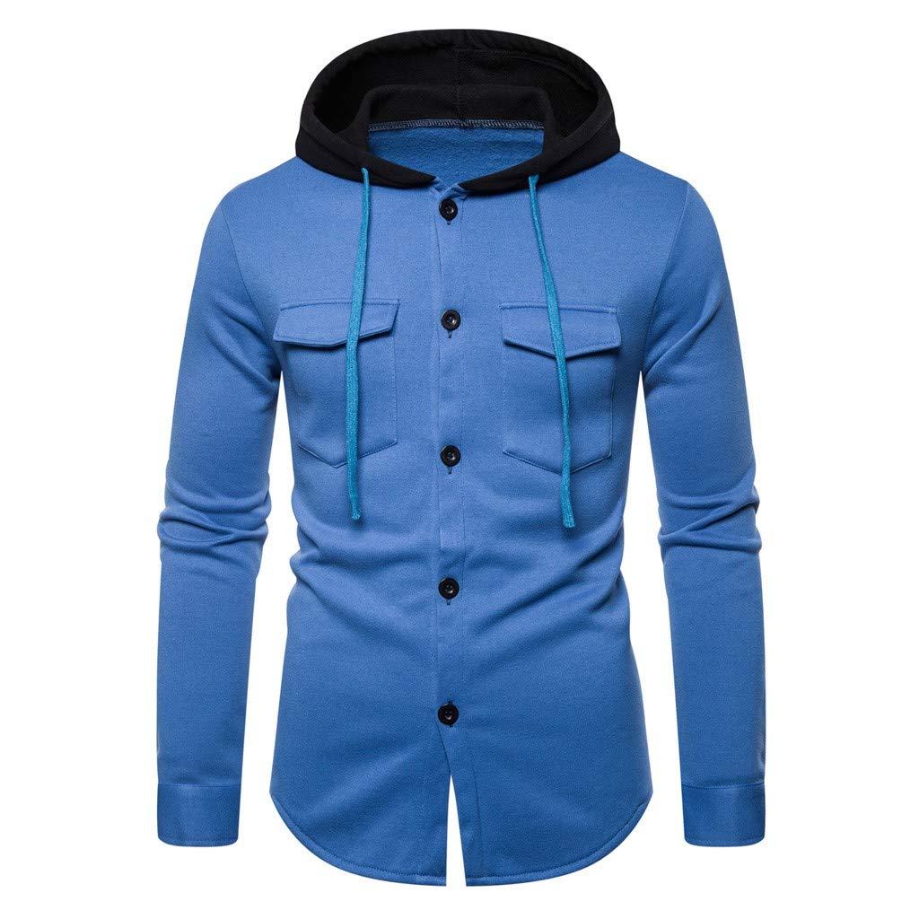 Men Autum Winter Long Sleeve Hooded Sweatshirt Printed Outwear Tops Blouse khdug✿ Outwear for Men