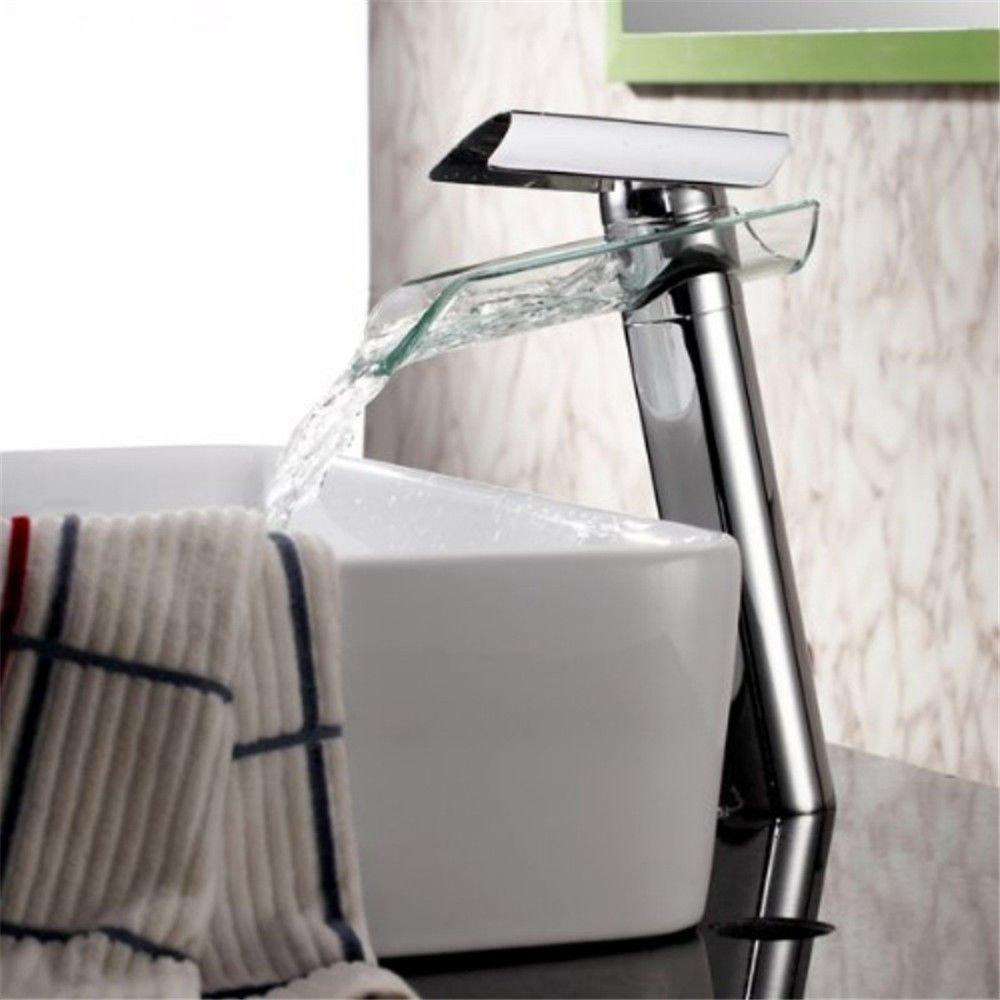 AQiMM Waschbecken Wasserhahn Bad Armatur Einzelnen Hebel Chrom Kupfer Wasserfall  Waschtischarmatur Badezimmer Waschbeckenamatur