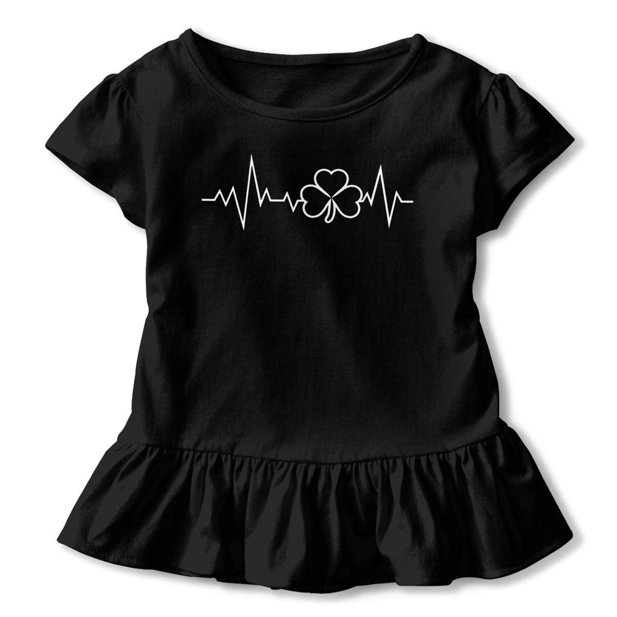 St Patricks Day Heartbeat Shamrock Toddler//Infant Girls Short Sleeve T Shirts Ruffles Shirt Tee Jersey for 2-6T