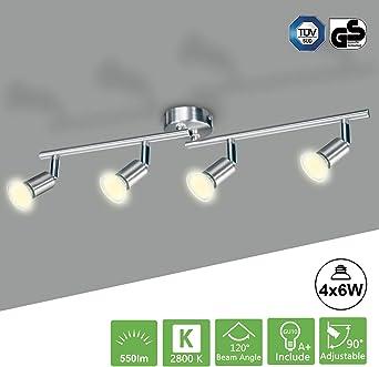 Luce Calda 2800K Faretti LED da Soffitto Inclusa 2 Lampadina GU10 da 6W 550LM Kimjo Lampadario da Soffitto Orientabile Soffitto Faretti per Camera letto Salotto Soggiorno Cucina Corridoio Bagno