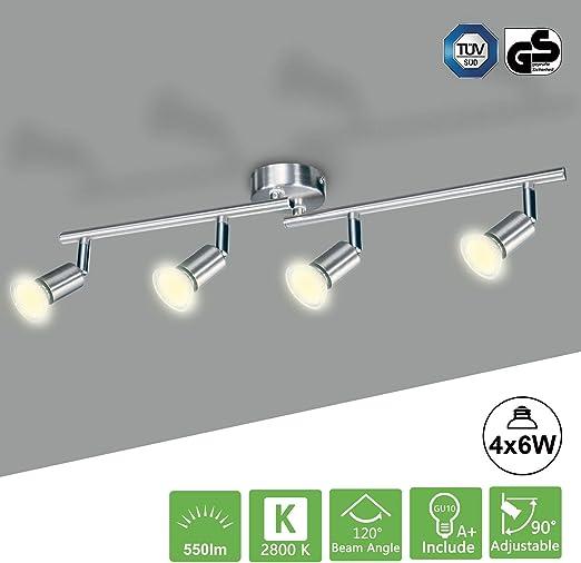 GU10 LED Deckenleuchte 4-Flammig Deckenstrahler Wandlampe Schwenkbar Deckenspot