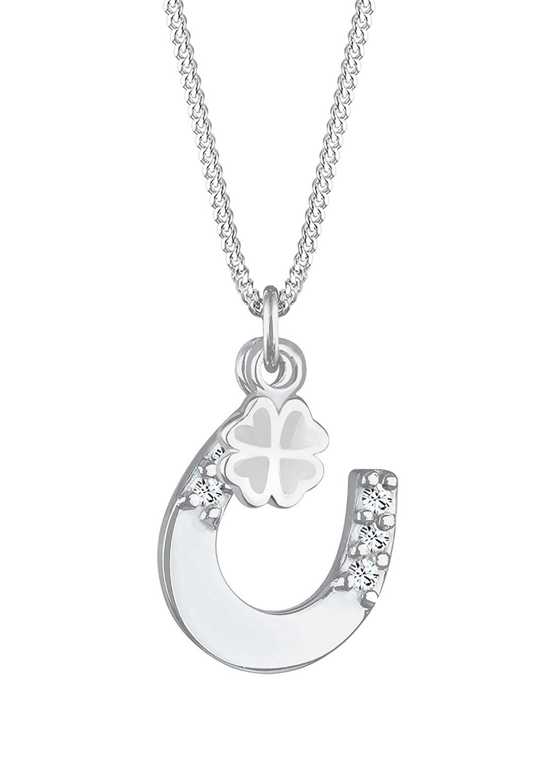 Silber halskette  Elli Damen Schmuck Halskette Kette mit Anhänger Hufeisen Kleeblatt ...