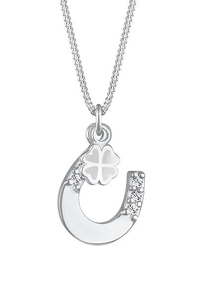 Elli - Collier Femme - Argent 925 1000 Cristal de Swarovski Rond avec  Pendentif Fer e6d65aa6227d