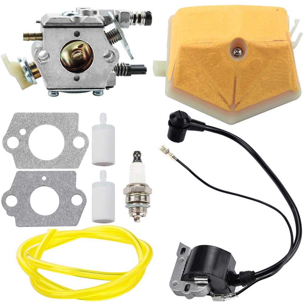 Carburetor Ignition Coil for Husqvarna 51 55 Chainsaw WT-170-1 WT-170 503281504 with Air Filter Fuel Line Spark Plug Parts Kit Carb Engine by Leopop