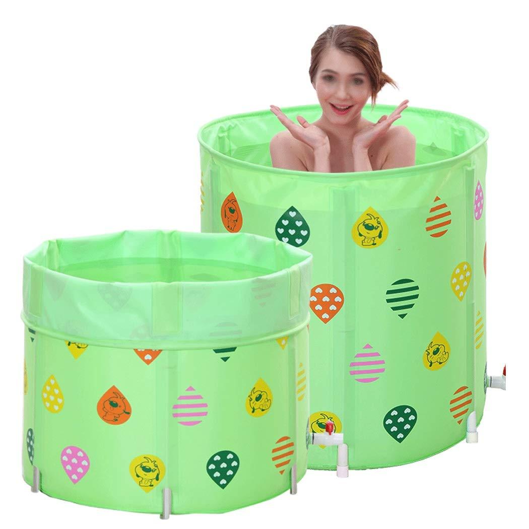 YONGYONG Family Thickening Bath Barrel Bath Barrel Children Bath Tub Barrel Can Be Stored Folding Bath Barrel 70cm*70cm (Color : Green, Size : 70cm*70cm)