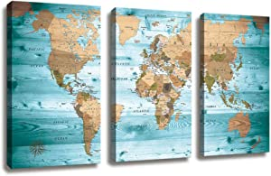 World Map Wall Art Vintage Photos Nautical Decor Canvas Art Wall Decor/3 Pieces Large Modern Framed Wall Art Map of The World Canvas Prints Travel Memory for Home Office Decor Overall 48 x 28 Inches