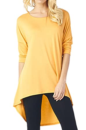 82 Days Women'S Rayon Span Plus To Regular High & Low Tunic with 3/4