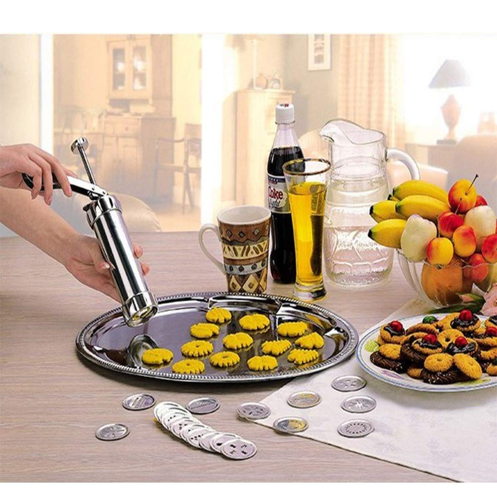 Stainless Steel Cookie Press Kit - Biscuit Gun Set with 20Pcs Cookie Disc Shapes and 4Pcs Decorating Tips by Sindh (Image #2)