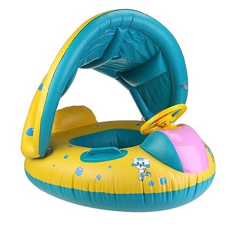 WINOMO flotador hinchable con asiento para bebé con inflador coche PVC Piscina Natación para Niños (