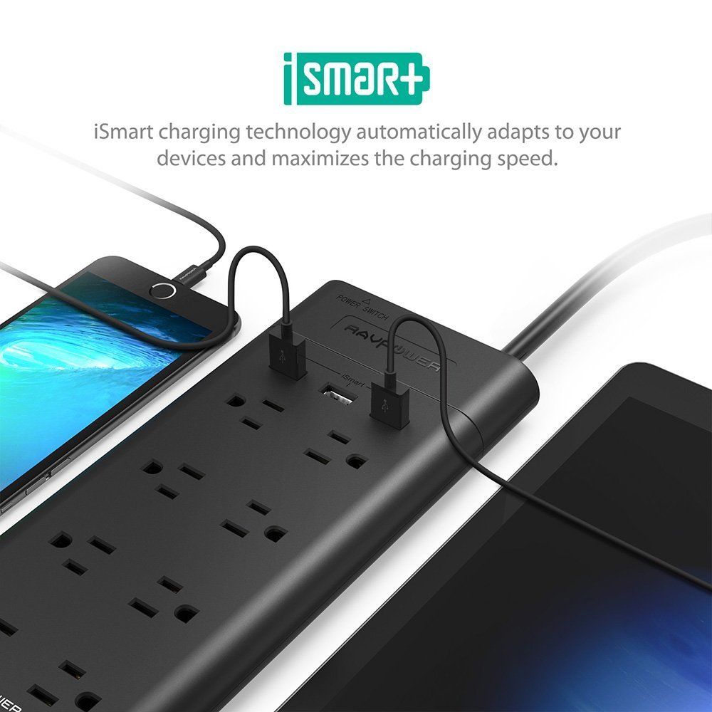 Amazon.com: Power Strip Surge Protector, RAVPower 8-Outlet with 3 ...