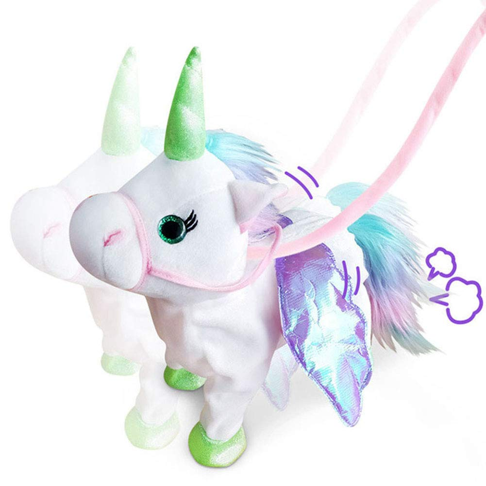 Willcome Lovely Electric Walking Plush Pony Toy Soft Stuffed Unicorn Sing The Song for Baby Birthday Gifts White