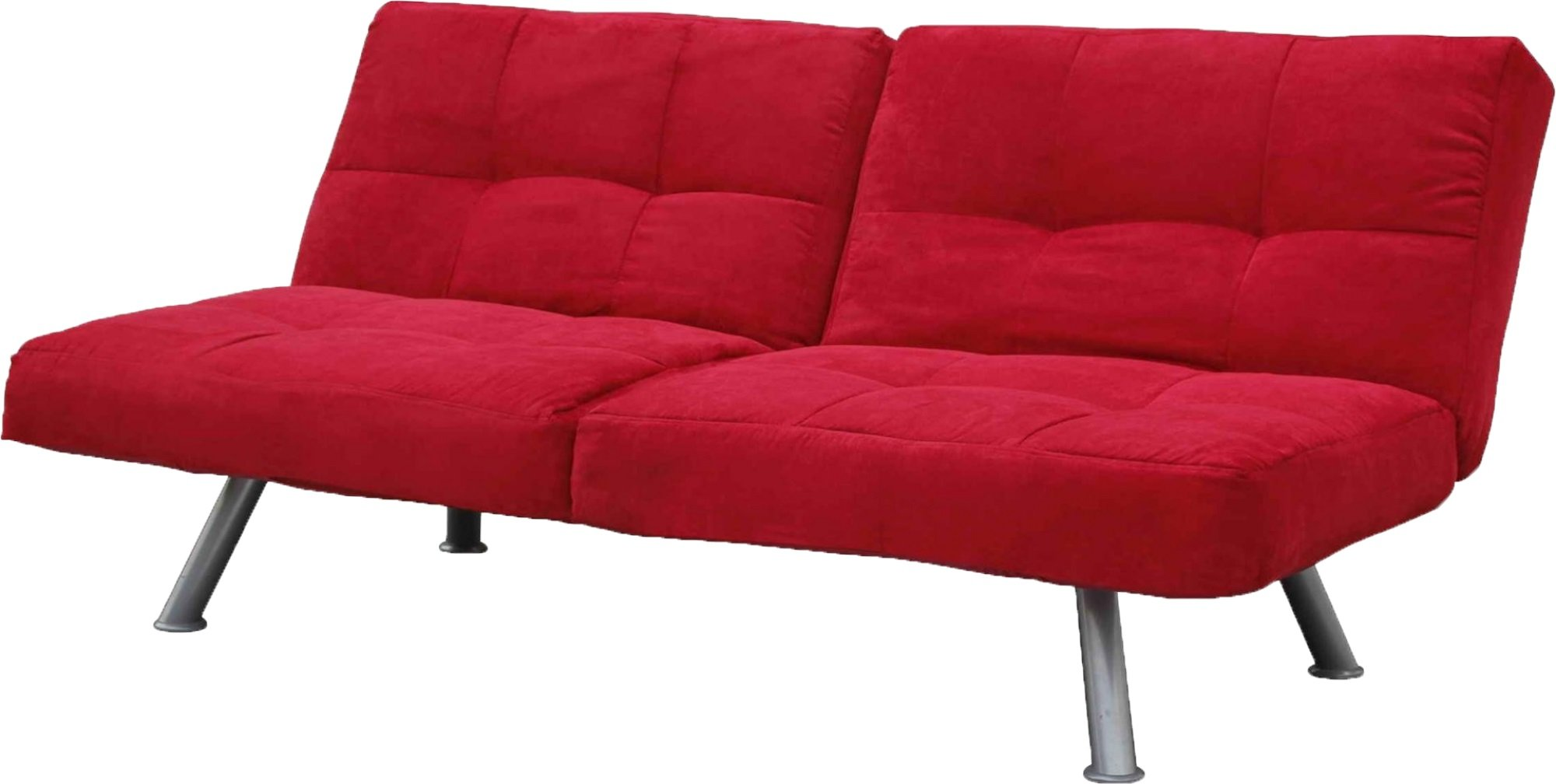 DHP Kaila Sofa Sleeper Convertible Futon Bed with Adjustable Armrests, Slanted Metal Legs and Splitback - Red