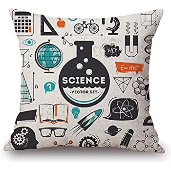 JES&MEDIS Mathematical Formula Equation DoodleThrow Pillowcases Cotton Linen Square Cushion Pillows Cover,18
