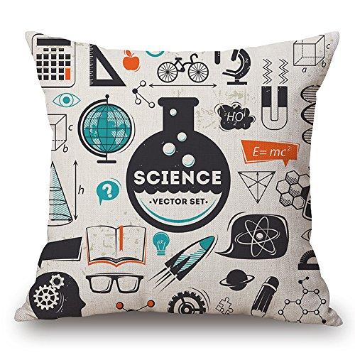 JES&MEDIS Mathematical Formula Equation DoodleThrow Pillowcases Cotton Linen Square Cushion Pillows Cover,18