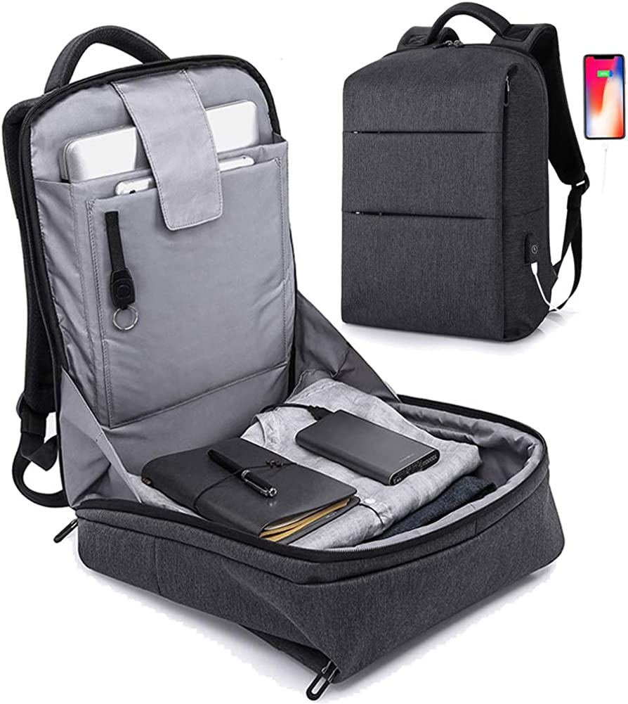 Anti Theft Laptop Backpack,Business Travel Slim Backpack with USB Charging Port, School Computer Bag for Women Men
