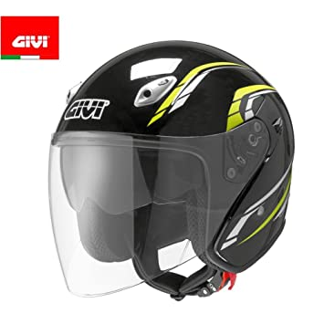 GIVI H206FN90261 Hps 20.6 Jet Casco, Fibra Óptica-J2 Plus, Color Negro Decor