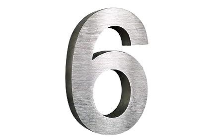 Número de casa de acero inoxidable Nr, 6 H25 cm x T3cm Arial ...