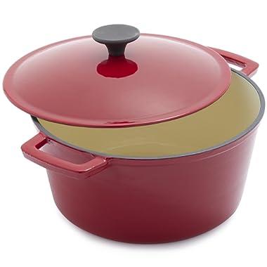 Sur La Table Red Lightweight Cast Iron Dutch Oven 25317, 5 qt.