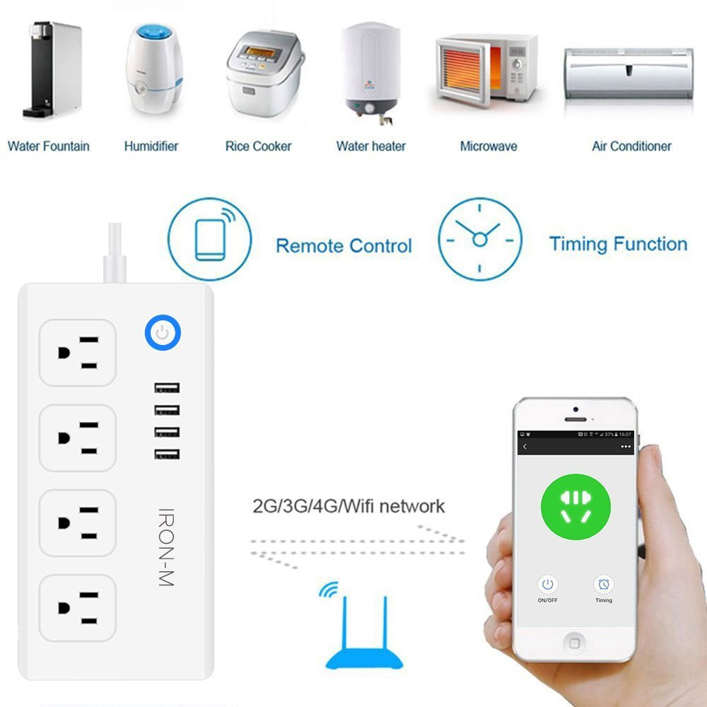 Iron-m WiFi Smart Power Strip Surge Protector, 4-Outlet 4-USB with 5-Foot Cord, Remote Control via Smart Phone, Work with Alexa and Google Home Mini by Iron-M (Image #4)