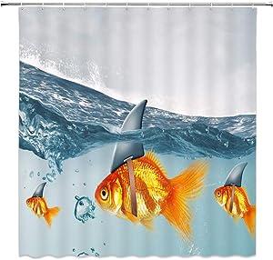 Feierman Shark Fin Goldfish Shower Curtain Decor Unique Design Ocean Bathroom Curtain Decor Machine Washable with Hooks 70x70Inches